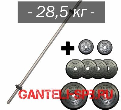 W - Штанга 28,5 кг Изогнутая, наборная MB barbell, 120 см, d25 мм