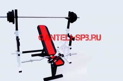 Комплект 60 кг со скамьей и стойкой со страховкой(вариант 2)