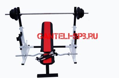 Комплект 60 кг со скамьей и стойкой со страховкой(вариант 1)