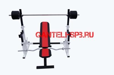 Комплект 60 кг со скамьей и стойкой со страховкой(вариант 3)