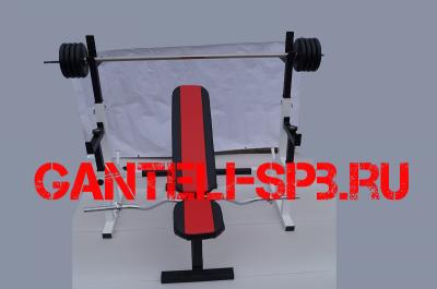 Комплект 56 кг со скамьей и стойкой со страховкой