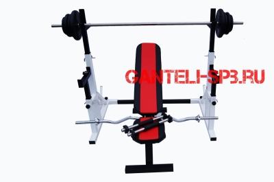 Комплект 65 кг со скамьей и стойкой со страховкой