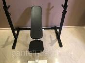 Комплект: стойка для штанги черная + скамья складная черно-белая