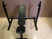 Комплект: стойка для штанги черная + скамья складная черная