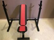 Комплект: стойка для штанги черная + скамья складная черно-красная