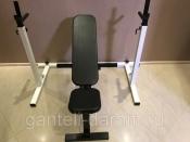 Комплект: стойка для штанги белая + скамья складная черная