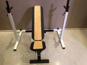 Комплект: стойка для штанги белая + скамья складная черно-желтая