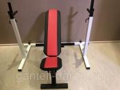 Комплект: стойка для штанги белая + скамья складная черно-красная