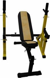 Скамья атлетическая Orion Sportlim + Стойки со страховочными упорами (желтые)