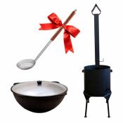 Казан 12 литров, печь с дымоходом+ подарок