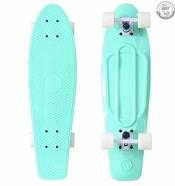 Пластиковый скейт 27 голубой- колеса белые