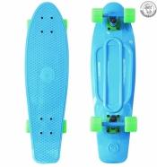 Пластиковый скейт  27 голубой - колеса зеленые