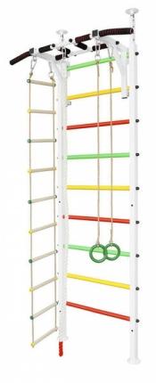 Шведская стенка белого цвета + Турник, Кольца, Канат и Веревочная лестница (крепление Враспор)  И