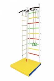 Шведская стенка белого цвета + Турник, Мат, Канат, Кольца и Веревочная лестница (крепление Враспор)